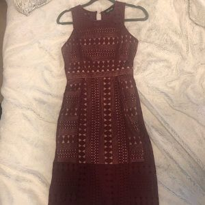 XS Merlot/Burgundy Lace Dress